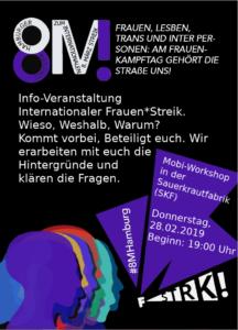 Mobi-Veranstaltung 8M Frauen*Streik @ Sauerkrautfabrik